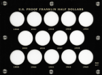 6x8 Proof Franklin Half Dollars, 1950-1963, 14 Coin, Capital Plastics