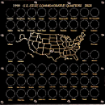 12x12  State Commemorative Quarter 50 Coin Set & Map Illustration Capital Plastics