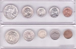 6 Coin, Cent Through Silver Dollar Box 25 Plastic Strip Holder Whitman