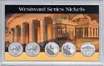 2006 3x5 Commemorative Nickel, Monticello 5 Coin Frosty Case