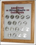 American Silver Eagle Collection 1986-2003, 11x14 Oak Frame