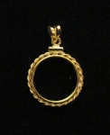 Gold Filled $2.50 Indian Gold Coin Mount, w/Small Rope & Bale  Net