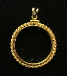Gold Filled $10 Gold Coin Mount, w/Small Rope & Bale  Net