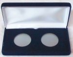 Blue Velvet Steel Box, 2 Coin, With 2 'H' Size Openings IN Card Airtite